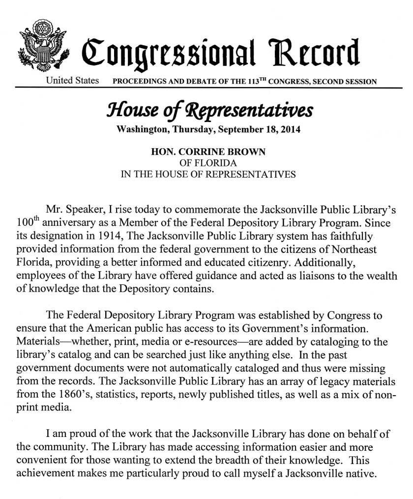 congressional record gift