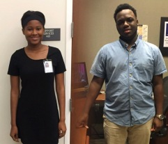 Interns Mikayla (left) and Cory Davis (right) worked at the library this summer.